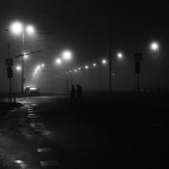 Guiding lights and crossed wires (mkorolkov) Tags: street streetphotography streetlights silhouette dark night series blackandwhite monochrome fujifilm xe1 xf1855mm xf1855mmf284