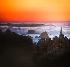 Asilomar (astro twilight) Tags: wave california ocean sunset rocksculpture monterey
