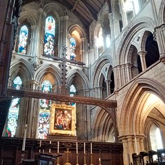 Chancel, Hexham Abbey (gowersaint) Tags: abbey church chancel interior altar painting art masterpiece frame renaisance italian holyfamily cross christian medieval augustinian monastery candles candlesticks stainedglass glass craft victorian artistry faith religion ancient solid