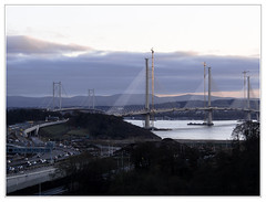 Ferrytoll, old and new bridges (The Anti-Sharpness League) Tags: jadmor ferrytoll ferryhills fife queensferry crossing forth road rail bridge olympus omd cable stayed suspension scotland