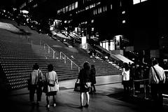 Look (sunnywinds*) Tags: kyoto station stairs blackandwhite monochrom monochrome leica summilux people lights light back night evening railway