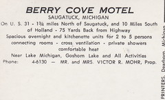 SW Saugatuck MI 1950s THE BERRY COVE TOURIST MOTEL  on US-31 just North of Town South of Holland Your Hosts Mr & Mrs Victor R Mohr No AC but -Cross Ventilation8 (UpNorth Memories - Donald (Don) Harrison) Tags: christmas santa jesus vintage antique postcard rppc don harrison upnorth memories upnorth memories upnorthmemories michigan history heritage travel tourism michigan roadside restaurants cafes motels hotels tourist stops travel trailer parks campgrounds cottages cabins roadside entertainment natural wonders attractions usa puremichigan  railroad ferry car excursion