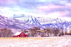 Winter is here (boysoccer3) Tags: ruralamerica farm barns timpanogos landscape sunset nature wasatch utah