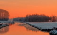 frosty sunrise (stevefge) Tags: beuningen frost winter red sunrise sky fields trees water landscape light early reflectyourworld nl nederland netherlands nederlandvandaag gelderland reflections