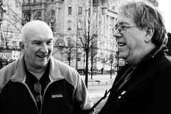 Liverpool Laughs (Jo_Morley) Tags: black white men man laugh smile bw monochrome depth field liverpool watermark blackandwhite england uk unitedkingdom depthoffield portrait britain people groupshot grin happy cheerful joy outside outdoor male contrast