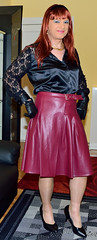 Birgit023359 (Birgit Bach) Tags: pleatedskirt faltenrock leather leder satin blouse bluse