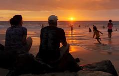 Magic Sands (sunrisesoup) Tags: sony nexc3 handheld sunrisesoup bigisland hawaii magicsandsbeach sunset swimming play laaloa beach park surf boogieboard sun orange people