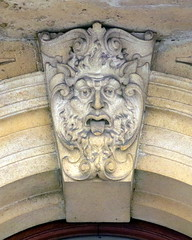The keystone of a rounded arch window, the old Bristol Stock Exchange buildings (1903), Bristol, England (Hunky Punk) Tags: uk england man male window face tongue stone architecture buildings bristol beard arch carving keystone rounded arched hunkypunk spencermeans