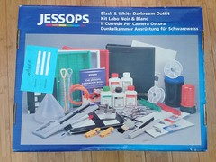Charity shop purchase. Film, chemicals, safelight and ring binder were missing, the rest of the stuff looked unused. A nice set for 6. (Bossnas) Tags: