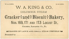 Columbia Steam Cracker and Biscuit Bakery, Columbia, Pa. (Alan Mays) Tags: old vintage ads paper advertising cards typography king pennsylvania antique 19thcentury victorian columbia steam ephemera pa businesscards pretzels type biscuits waking names lancastercounty advertisements fonts printed drking bakers companies typefaces nineteenthcentury bakeries locuststreet steampower fillintheblanks tradecards manicule manicules williamaking wakingco steambakeries danielrking columbiasteamcrackerandbiscuitbakery steampretzels steambiscuits