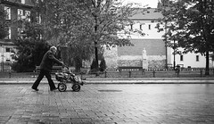 Hard Knock Life | Day 87 / 365 (marcin baran) Tags: road street old city urban man building walking beard one alone fuji stroller pavement candid empty homeless poor poland polska fujifilm lonely 365 pave bearder gliwice x100 wak marcinbaran x100t