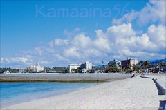 Kuhio Beach from Kapahulu c1955 (Kamaaina56) Tags: beach hawaii waikiki slide 1950s