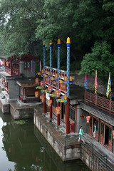 Summer Palace (Hesperia2007) Tags: china white lake tourism river garden painting landscape artwork scenery asia view traditional gray beijing culture royal palace tourists hills imperial summerpalace ornate marbleboat cixi jadebeltbridge empressdowager yuhe yuheyuan