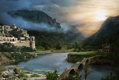 They watch (batkya) Tags: castle photoshop river landscape ufo fantasy mattepainting