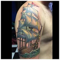 Fun ship tattoo, sky later... #shipyattoo #nauticaltattoo #clippership #pooch #art #alteredstatetattoo @eikondevice #symbeosrotary @fusionink_ca