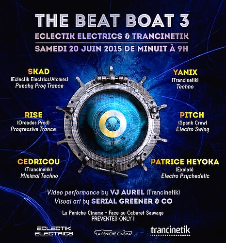 "flyer 20/06/2015 The Beat Boat 3 @ Péniche Cinéma (Paris) <a style=""margin-left:10px; font-size:0.8em;"" href=""http://www.flickr.com/photos/110110699@N03/22889082874/"" target=""_blank"">@flickr</a>"