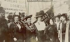 NUWSS procession - Frances Balfour, Millicent Fawcett, Emily Davies, Sophie Bryant, 13 June 1908