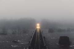 Emerging (Joey Wharton) Tags: mist fog clouds train river lights virginia foggy tracks richmond va rails rva