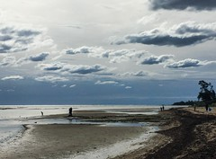 Storm brewing - Sandringham, Melbourne (Marian Pollock (Weiler)) Tags: storm clouds portphilipbay sea waterscapes people shallows overcast refelctions bay sandy ripples silhouette australia melbourne sandringham highlights iphone