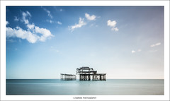 _____[][][]/  \[][][]_____ (Kevin HARWIN) Tags: west pier water sea beach sand blue sky clouds sun brighton east sussex uk england canon eos 70d sigma