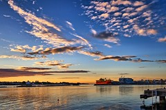 Karmsundet, Haugesund - Norway (Vest der ute) Tags: g7x norway rogaland haugesund sky clouds sunset boat seascape water sea