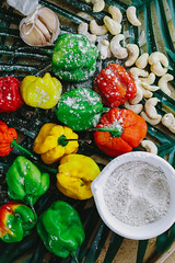 _B8A3352 (Chantelle D'mello) Tags: food foodie photography peppers red green yellow copper sauces dips hummus chickpeas leaves lime garlic onion whisk butter roux blueberries dates coconut sugar flakes cashew nuts hazelnuts almonds cooking fire cook trinidad trinidadandtobago zucchini zoodles pasta mushrooms tomatoes tahini