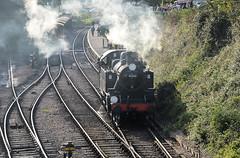 41312 light engine through Ropley (davids pix) Tags: 41312 ivatt preserved tank locomotive ropley mid hants railway aerial view 2016 21102016