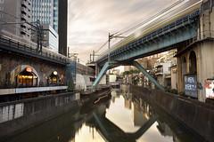Ochanomizu / Akihabara Revisited (Tulitomaatti) Tags: japan train longexposure infrastructure tokyo urban city evening sunset river canal water reflection bridge motion blur clouds