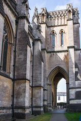Arundel - Roman Catholic Cathedral North Side (Le Monde1) Tags: arundel howard dukeofnorfolk lemonde1 nikon d610 town castle cathedral romancatholic market westsussex england county uk southdowns riverarun frenchgothic architect josephaloysiushansom northwest porch tower base