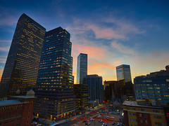 Denver city skyline at sunset (uptownguydenver) Tags: denver colorado grantstreet architecture architectural structures building edifice edifices commercialbuilding skyscraper residentialbuilding misccityview sunset cloudporn clouds captureone phaseone xf iq3100 wellsfargo cashregisterbuilding ~attribute ~timeofday ~photography ~typeofphotography architecturalphotography usa