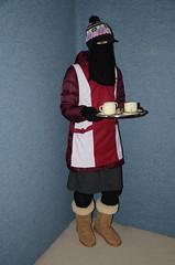 Slave Waitress (Buses,Trains and Fetish) Tags: slave girl sweat warm winter coat anorak niqab hijab burka chador maid waitress apron