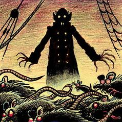 Nosfera-Tuesday (Tom Bagley) Tags: nosferatu drawlloween vampire rats cartoon redeyes fog rigging creepy eerie weird ink postitnote colouredpencils tombagley calgary alberta canada dracula murnau maxschreck