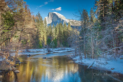 Half Dome from Sentinel Bridge - Horizontal (Chris Murdoch Photography) Tags: blue brown california californialandscapephotography chrismurdoch chrismurdochlandscapephotography chrismurdochphotography copyrightchrismurdoch fineart fineartphotography flowingwater green halfdome halfdomefromsentinelbridgehorizontal landscapephotography landscapes mercedriver nationalparks northerncalifornia river rivers sentinelbridge snow usa white winter yosemite yosemitenationalpark yosemitevalley