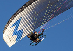 flying past Farley Mount  in Hampshire (neilalderney123) Tags: 2016neilhoward paramotor pilto flight paragliding hampshire