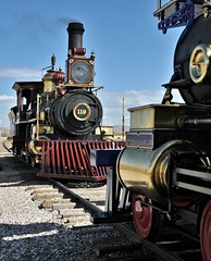 ...marked by the Golden Spike (Starkrusher) Tags: goldenspike promontorysummit centralpacificrailroad unionpacificrailway jupiter 119 steamlocomotives