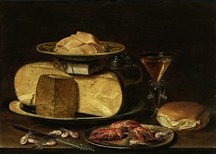 Nature morte (Ωméga *) Tags: naturemorte stilllife art tableau painting ω fromage cheese homard lobster vin wine beurre butter pain bread crevettes shrimp verre glass table assiette plate