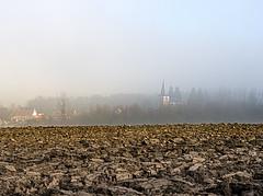 Foggy Village (enneafive) Tags: kuttekoven borgloon fog foggy olympus omd em5 church presbytery