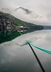 On the leash (alexring) Tags: d750 nikon alexring morning view moody lake reflection mooring boat rope mirror clouds mountain flo stryn norway sognogfjordane oppstrynsvatnet water sky