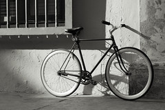 The bike (neo :)) Tags: street photography blackandwhite bw bycicle bike sunlight light colombia cartagena places objects travel stories