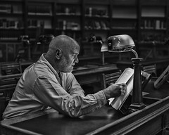 Looking for truth (adrian.sadlier) Tags: library nationallibraryofireland dublin ireland books old archive research lamp portrait mono selfportrait