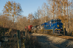 16-8176 (George Hamlin) Tags: rectortown virginia railroad freight train intermodal double stack containers norfolk southern ns 228 western nw heritage unit general electric es44ac diesel locomotive blue autumn bare trees afternoon bline light shadows photo decor george hamlin photography fall foliage