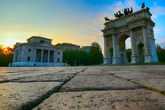 Milano: si fa sera sull'arco della pace (Gianni Armano) Tags: arco della pace milano si fa sera 14 novembre 2016 foto gianni armano photo