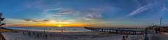 Henley Beach Sunset Panorama (johnwilliamson4) Tags: beach blue clouds henleybeach jetty panorama people southauatralia sunset water orange southaustralia australia