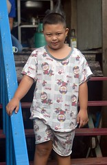 boy in pajamas on stairs (the foreign photographer - ) Tags: downs syndrome boy pajamas stairs house khlong bang bua portraits bangkhen bangkok thailand nikon d3200