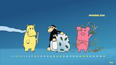 How to wrap a Christmas present (cernaovec) Tags: desktop background wallpaper animals calendar download downloadable hippo pig illustration sheep blacksheep xmas christmas present gift wrap wrapping holidays happy funny season seasonal blue joyful