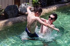 Begone, bane of my life! (obLiterated) Tags: people brisbane runcorn dylan matt pool swimming outdoor