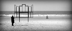 4 (roberke) Tags: sea blackandwhite beach water monochrome strand artwork sand belgium artistic zwartwit noordzee zee altar northsea oostende schaduw zand persoon krismartin