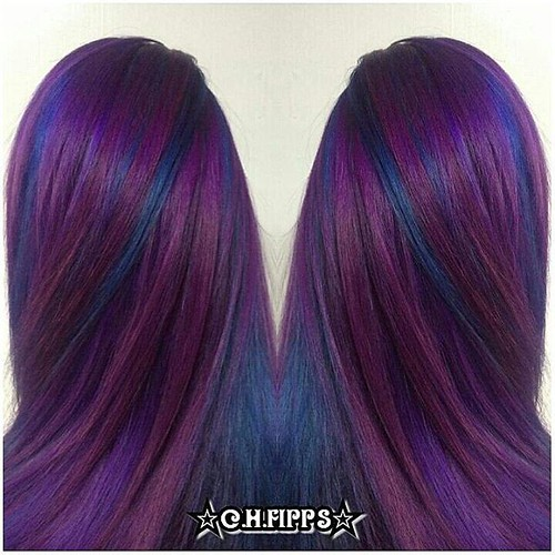 Cosmic Purple And Blue Pinwheel Hair Color Cosmic Purple And
