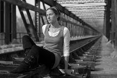 Profonde méditation... (Thierry.Vaye) Tags: marie blackwhite rail pont métal voie chemindefer