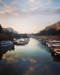 Instagrammies (0weebee) Tags: morning sky paris france water clouds port sunrise work boats canal metro nuages bastille waytowork canalsaintmartin s6 regionparisienne